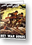 Bombers Greeting Cards - Attack Attack Attack Buy War Bonds Greeting Card by War Is Hell Store