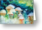 Photographs Painting Greeting Cards - Attack of the Portuguese Jellyfish Greeting Card by Kathy Braud
