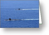 Submarines Greeting Cards - Attack Submarine Uss Alexandria Greeting Card by Stocktrek Images