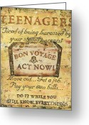 Vacation Destination Greeting Cards - Attention Teenagers Greeting Card by Debbie DeWitt