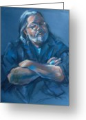 Blues Pastels Greeting Cards - Attitude Greeting Card by Joan  Jones