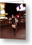 Seductive Photo Greeting Cards - Attractive Young Woman Walking Down the Street at Night Greeting Card by Oleksiy Maksymenko