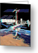 Stereo Greeting Cards - Atv Boosting The Iss, Stereo Image Greeting Card by David Ducros