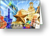 Digitally Enhanced Greeting Cards - ATX Montage Greeting Card by Andrew Nourse