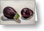 Food Greeting Cards - Aubergines Greeting Card by Sarah Lynch