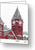 College Buildings Images Greeting Cards - Auburn Greeting Card by Frederic Kohli