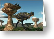 Cretaceous Greeting Cards - Aucasaurus Among Hoodoos Greeting Card by Daniel Eskridge