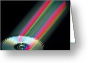Laser Beam Greeting Cards - Audio Compact Disc Greeting Card by Pasieka