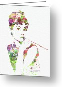 Watercolor Greeting Cards - Audrey Hepburn 2 Greeting Card by Irina  March