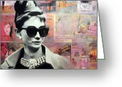 Ryan Greeting Cards - Audrey Hepburn Greeting Card by Ryan Jones