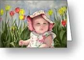 Baby Girl Greeting Cards - Audrey Greeting Card by Sam Sidders