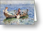 Sunbathing Greeting Cards - August Blue Greeting Card by Henry Scott Tuke