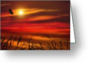 Sunset Posters Photo Greeting Cards - August Sunset Greeting Card by Thomas York