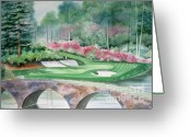 Deb Ronglien Watercolor Greeting Cards - Augusta National 12th Hole Greeting Card by Deborah Ronglien