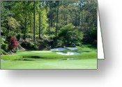 National Greeting Cards - Augusta National Golf Club Hole 12 Golden Bell Greeting Card by Phil Reich