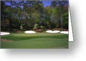 National Greeting Cards - Augusta National Golf Club Hole 13 Azalea Greeting Card by Phil Reich