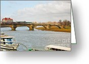 Boats Greeting Cards - Augustus Bridge Dresden Germany Greeting Card by Christine Till