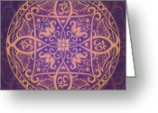 Gold Greeting Cards - Aum Awakening Mandala Greeting Card by Cristina McAllister