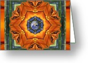 Sacred Geometry Greeting Cards - Aura Bamboo Greeting Card by Bell And Todd