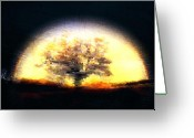 Darken Greeting Cards - Aura Tree Greeting Card by Andrea Barbieri