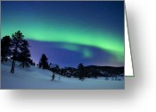 Aurora Borealis Greeting Cards - Aurora Borealis And A Shooting Star Greeting Card by Arild Heitmann