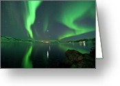 Aurora Borealis Greeting Cards - Aurora Borealis Greeting Card by Bernt Olsen