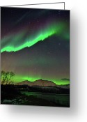 Polaris Greeting Cards - Aurora Borealis Greeting Card by John Hemmingsen