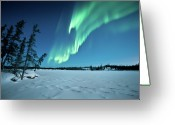 Frozen Greeting Cards - Aurora Borealis Greeting Card by Michael Ericsson