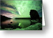 Aurora Borealis Greeting Cards - Aurora Borealis Over Lake Kleifarvatn Greeting Card by Skarphedinn Thrainsson