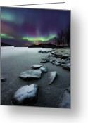 Rock  Greeting Cards - Aurora Borealis Over Sandvannet Lake Greeting Card by Arild Heitmann
