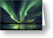 Serene Greeting Cards - Aurora Borealis Over Tjeldsundet Greeting Card by Arild Heitmann