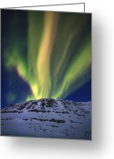 Mountain Peaks Greeting Cards - Aurora Borealis Over Toviktinden Greeting Card by Arild Heitmann