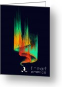 Aurora Borealis Greeting Cards - Aurora Borealis painter Greeting Card by Budi Satria Kwan