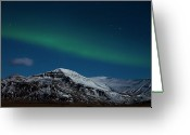 Snowcapped Greeting Cards - Aurora Borealis Greeting Card by Pall Jokull - www.flickr.com/photos/palljokull