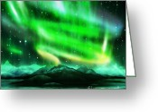 Polaris Greeting Cards - Aurora Borealis  Greeting Card by Setsiri Silapasuwanchai