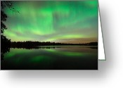 Green Photo Greeting Cards - Aurora over Tofte Lake Greeting Card by Larry Ricker