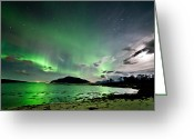 Canon 5d Mk2 Greeting Cards - Auroras and moon Greeting Card by Frank Olsen