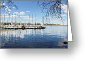 Hamburg Greeting Cards - Aussenalster Hamburg Greeting Card by Marc Huebner