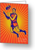 Male Greeting Cards - Aussie Rules Player Jumping Ball Greeting Card by Aloysius Patrimonio