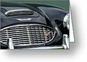 Austin Healey Photo Greeting Cards - Austin-Healey 3000 Grille Emblem Greeting Card by Jill Reger