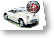 Austin Greeting Cards - Austin Healey Bug Eye White Greeting Card by David Kyte