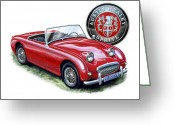 David Kyte Greeting Cards - Austin Healey Bugeye Sprite Red Greeting Card by David Kyte