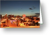 Cityscape Digital Art Greeting Cards - Austin Night Greeting Card by Andrew Nourse