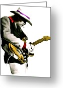 Photographs Drawings Greeting Cards - Austin Powerhouse  Stevie Ray Vaughan Greeting Card by Iconic Images Art Gallery David Pucciarelli