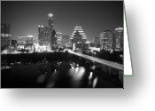 Buildings Greeting Cards - Austin Skyline Mono Greeting Card by John Gusky
