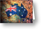 Rust Greeting Cards - Australia Flag Map Greeting Card by Michael Tompsett