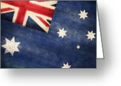 Stripes Greeting Cards - Australia  flag Greeting Card by Setsiri Silapasuwanchai