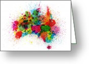 Australia Map Greeting Cards - Australia Paint Splashes Map Greeting Card by Michael Tompsett