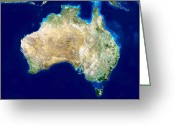 Arid Country Greeting Cards - Australia, Satellite Image Greeting Card by Planetobserver