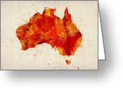 Watercolor Greeting Cards - Australia Watercolor Map Art Print Greeting Card by Michael Tompsett